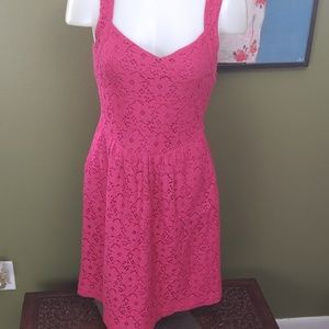 Anthropologie Deletta XS pink lace dress cut out